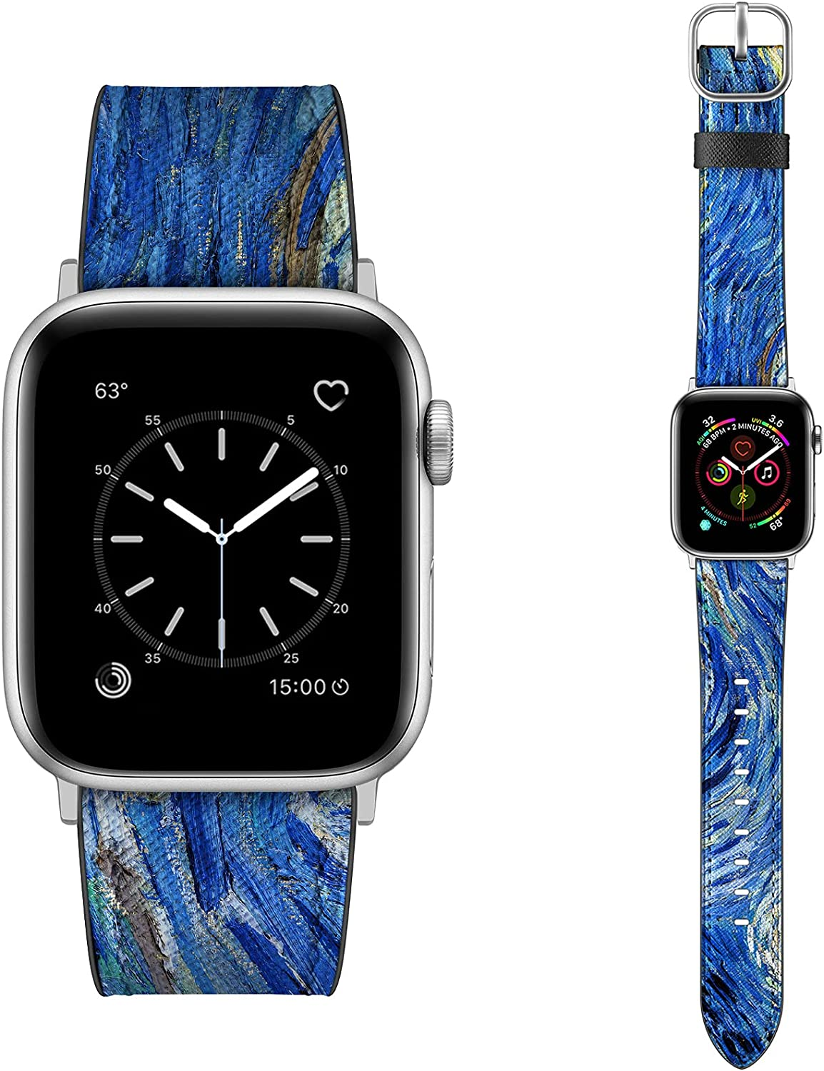 Dilando Leather Band Compatible with Apple Watch Series 6 38mm 40mm 42mm 44mm Genuine Leather Vintage Designer Strap Classic Bracelet Buckle for iWatch SE 6 5 4 3 2 1 Women Men Navy Blue 38mm 40mm