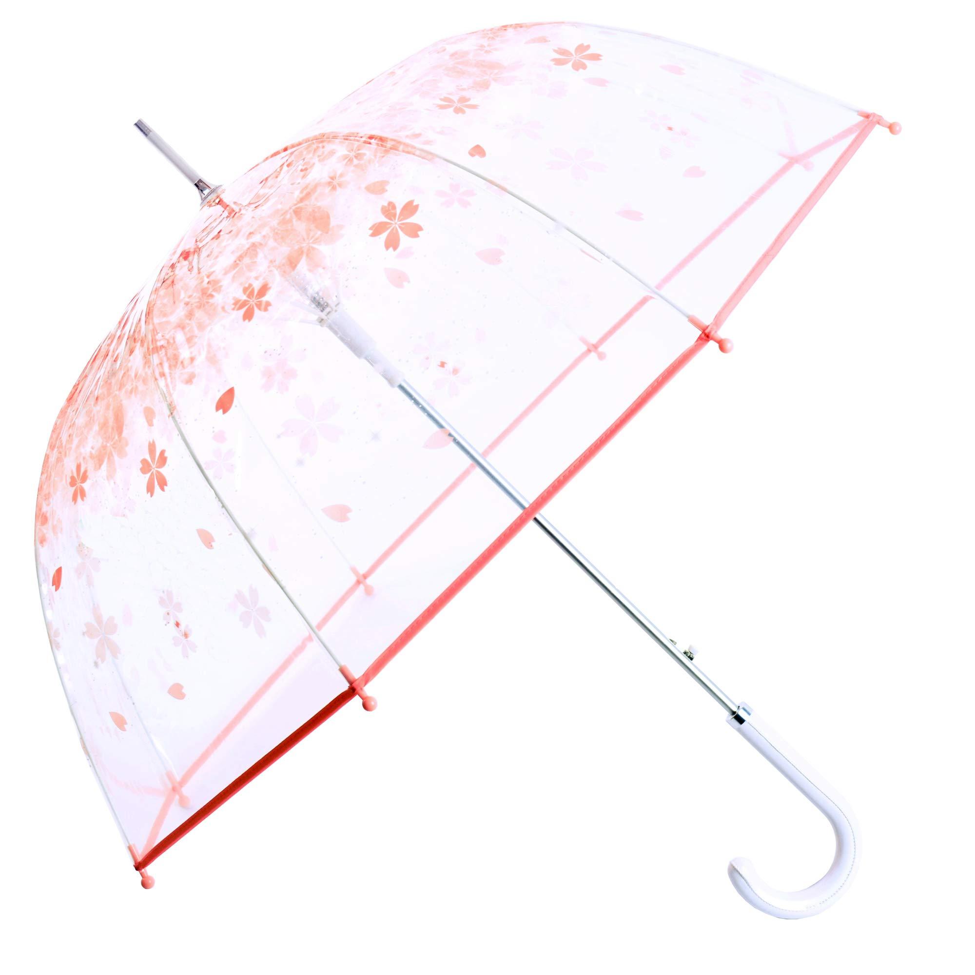 Kung Fu Smith Women Half Automatic Clear Flower Bubble Dome Shape Wind Stick Rain Umbrella, Pink