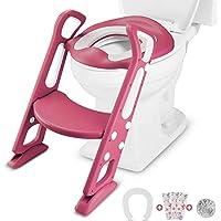 Samione - Silla de entrenamiento para niños, asiento de inodoro ajustable con escalera, incluye 3 fundas desechables…