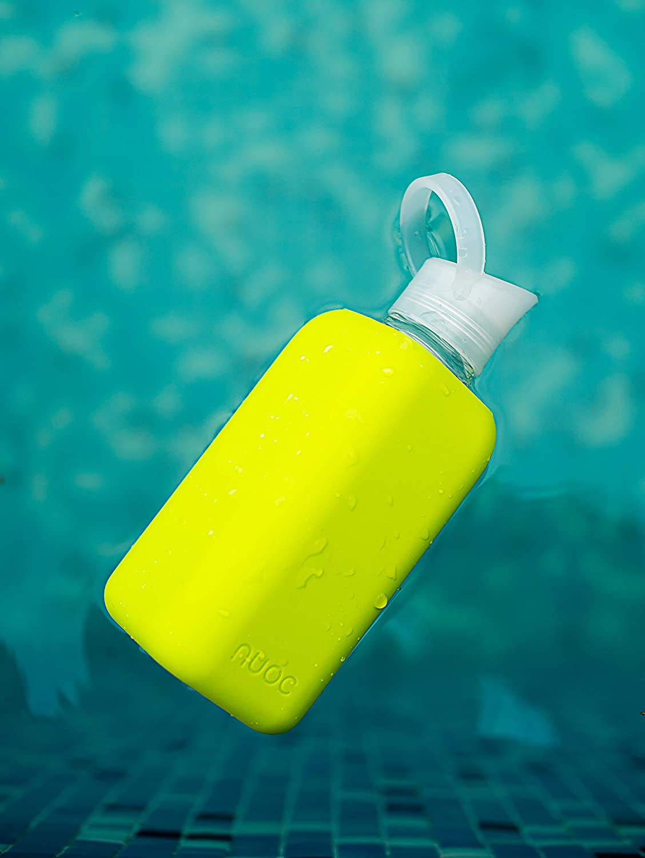 NUOC t/és 800ml sin BPA y sin Ftalatos y 100/% reciclable Bebidas fr/ías y Calientes: Agua Smoothies zumos Botella de Agua Reutilizable de Vidrio//Cristal de borosilicato Ligera