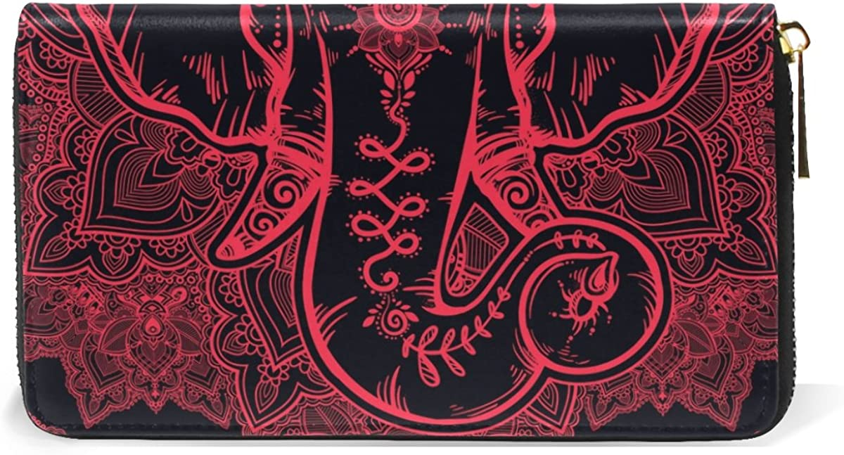 MAPOLO Floral Paisley Elephant Head Print Womens Clutch Purses Organizer And Handbags Zip Around Wallet