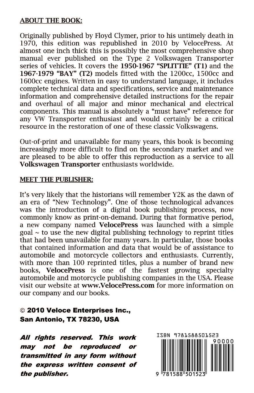 VOLKSWAGEN TRANSPORTER 1950 - 1979 1200cc - 1600cc WORKSHOP MANUAL: F  Clymer, VelocePress: 9781588501523: Amazon.com: Books