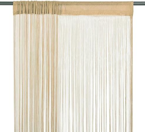 vidaXL Cortinas de Flecos 2 Piezas 140x250cm Beige Decoración para Hogar Casa: Amazon.es: Hogar