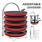 Lifewit Adjustable Pan Pot Organizer Rack for 8 9 10 11 12 inch Cookware, 5-Tier Cookware Holder for Cabinet Worktop Storage, 18/10 Stainless Steel