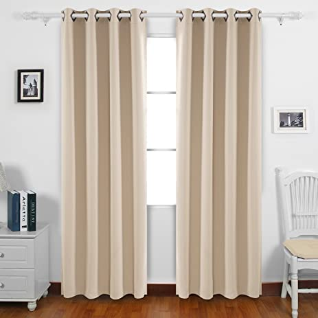 Deconovo Solid Grommet Curtains Blackout Panels Thermal Insulated Room  Darkening Curtains For Living Room 52W X
