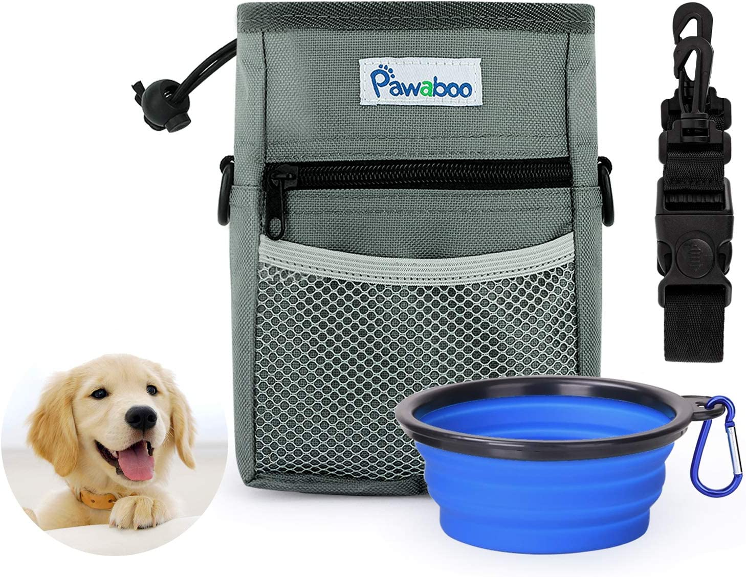 Dog Treat Pouch for Training Reward Walking Snack Bags Reward Pouch Bait Bag Water Bottle Carrier Holder With Adjustable Waist Belt Pet for Small to Large Dogs Treat Tote Carry Kibble Snacks Toys