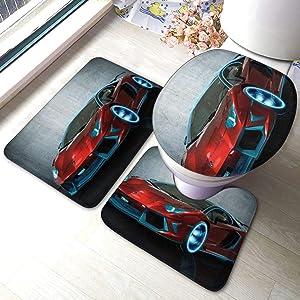 Red Race Car Bathroom Rugs Set 3 Piece Anti-Skid Pads Bath Mat +U-Shaped Contour + Toilet Lid Cover Bath Rug Set