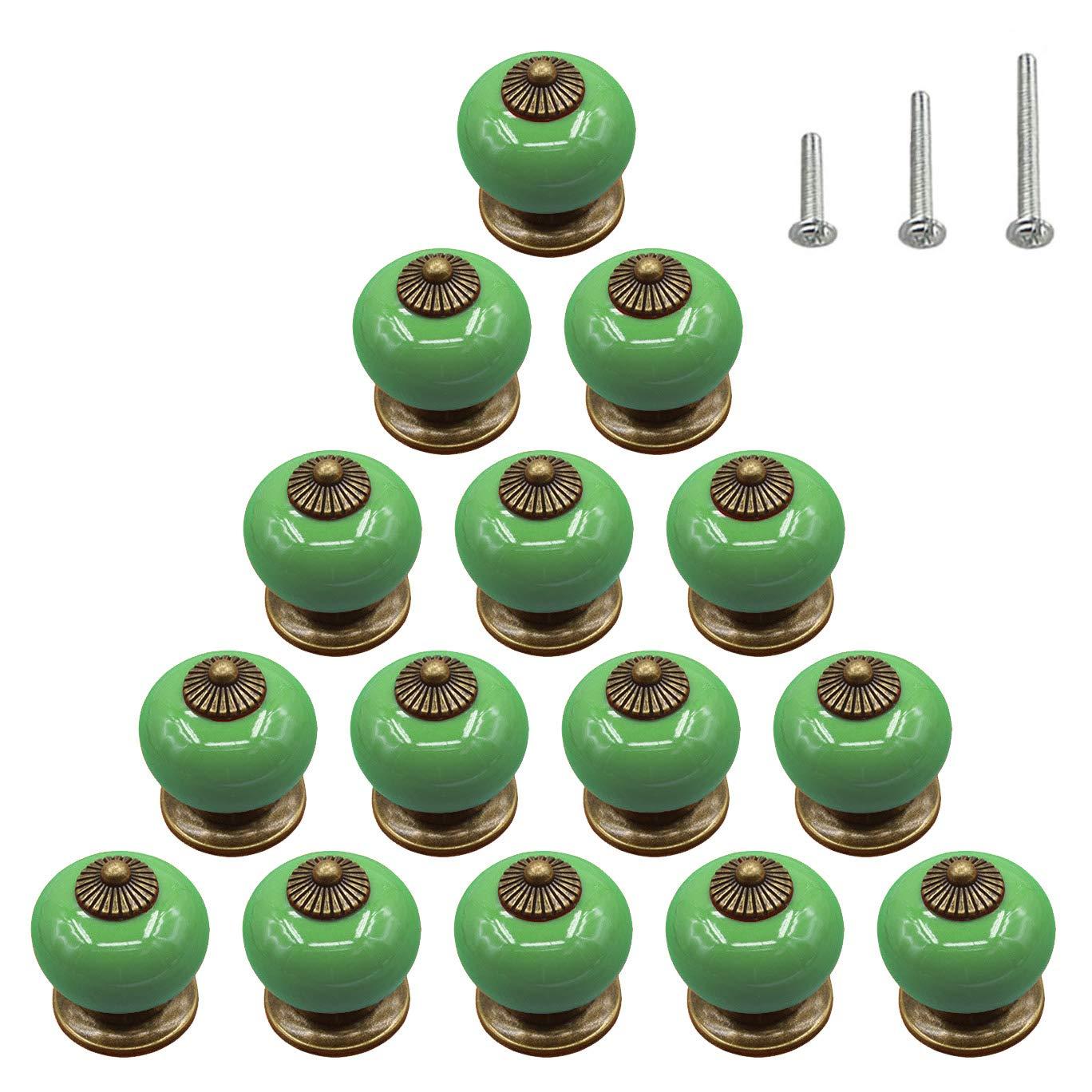 15PCS Green Ceramic Knobs Glossy Round Bead Dresser Vintage Cabinet Pulls Kid Cupboard Wardrobe Drawer Door Handles Antique Brass,Diameter 1.34 inch (34mm)