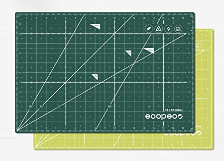 Drawing Quilting Scrapbooking Ecopeco 12x18 Inch Green 5-Ply Double Sided Non-Toxic Cutting Mat for Arts and Crafts Origami Sewing Quilling Paper Art Lettering Bullet Journaling Cutting