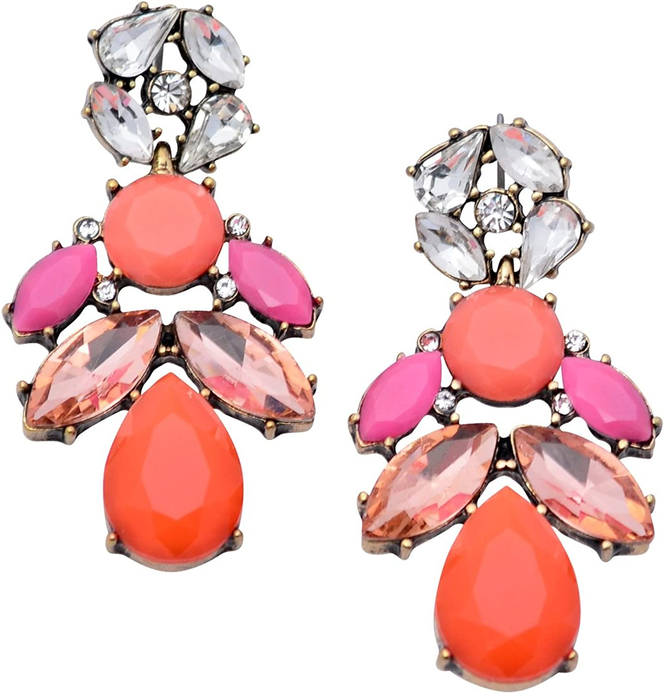 Happiness Boutique Damas Pendientes Llamativos Color Claro Rosa Naranja   Pendientes de Araña Multicolores Gemas Libres de Níquel