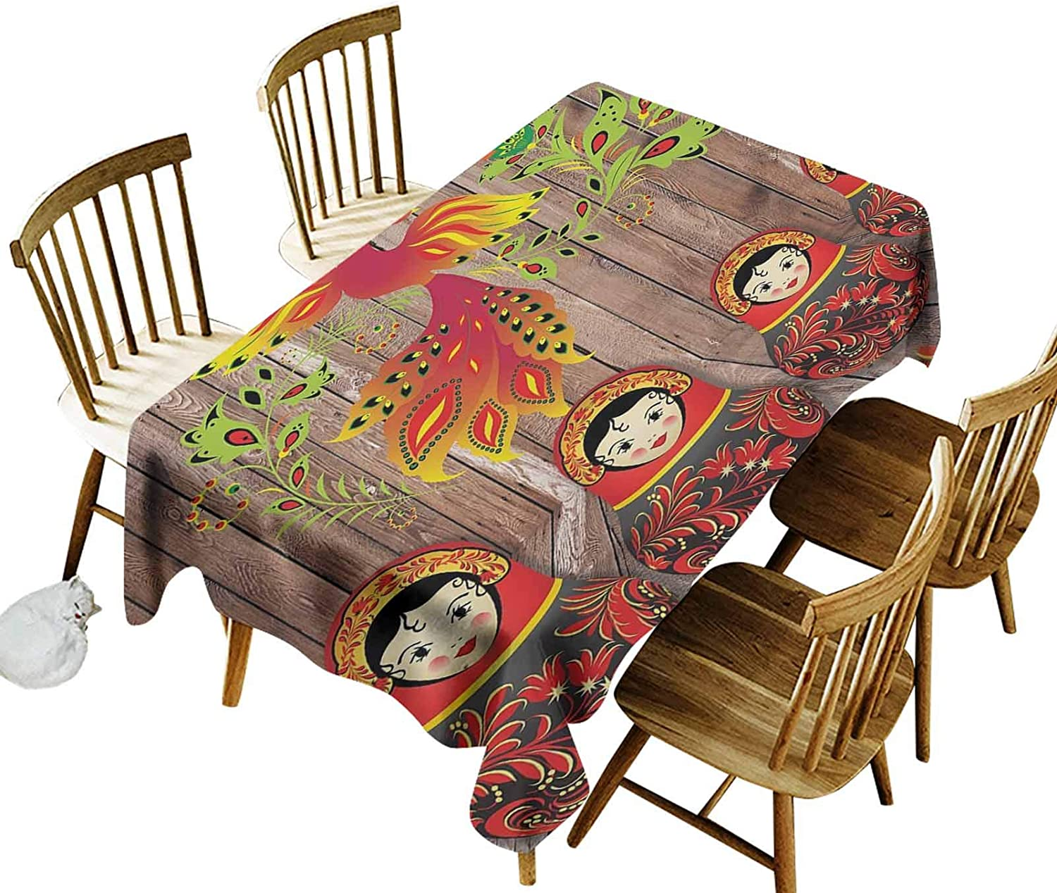 Decorative Tablecloth Rustic Decor Russian Matryoshka Dolls on Wooden Planks Gifts for Her Beautiful Peacock Bird Decoration Lover Traveler Design for Kitchen Wedding Parties 60x84 Inch