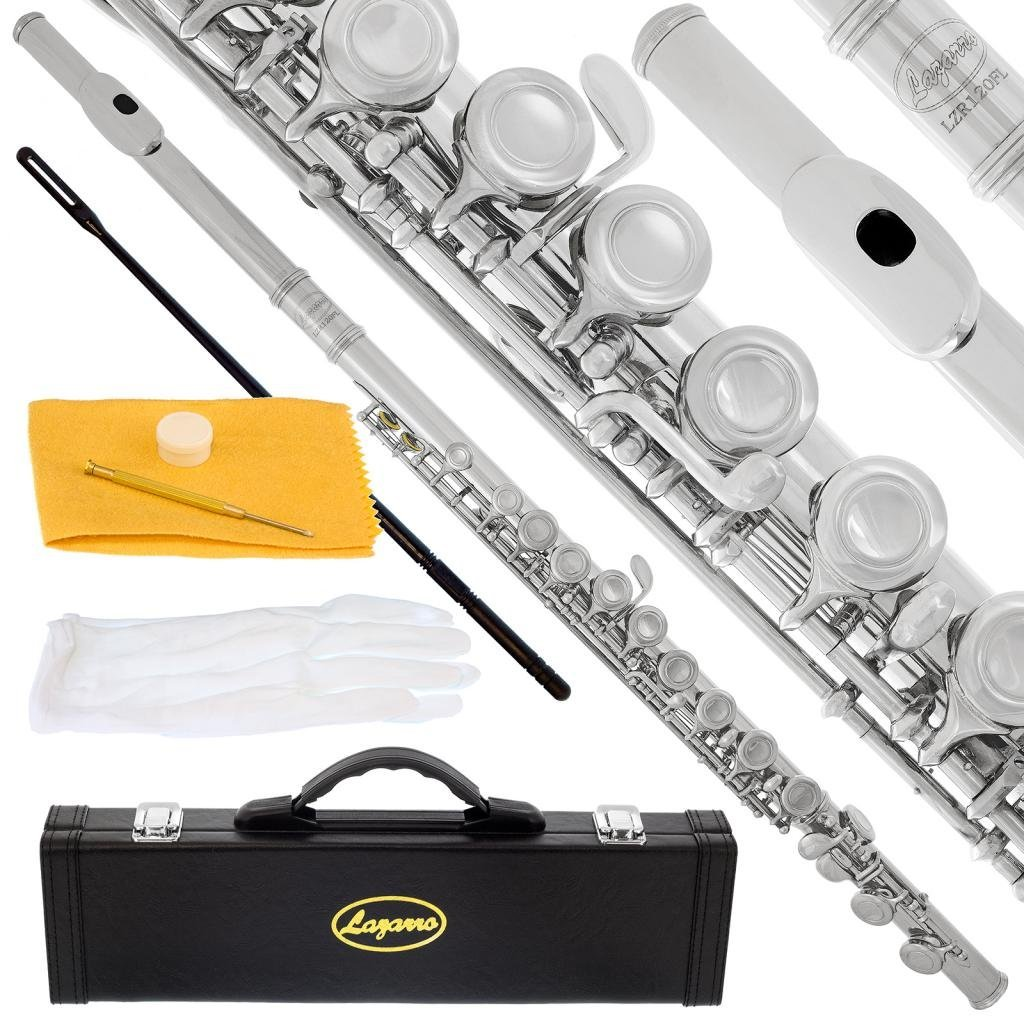 Lazarro Professional Silver Nickel Closed Hole C Flute for Band, Orchestra, with Case, Care Kit and Warranty, 120-NK by Lazarro