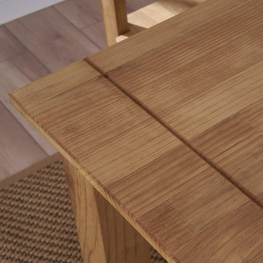 1 Table + 2 Chairs Storeinuk Modern Solid Pine Wood Dining Table and 2//4 High Back Chairs Set for Home Kitchen Dining Room Furniture Ancient Wax