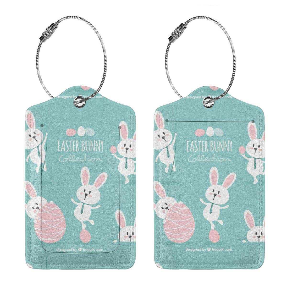 Lovely Easter Bunny Leather Luggage Tags Personalized Flexible Custom Travel Tags With Privacy Flap