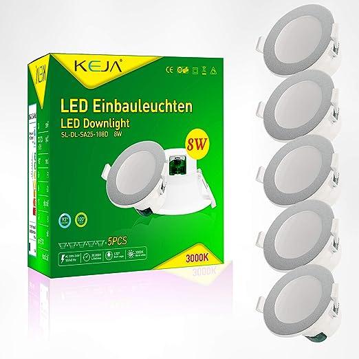 26mm Einbautiefe AC 220V-240V 6er Pack 6W 450 Lumen Silber Warmwei/ß 3000k LED Downlight Wasserdichter Deckenstrahler Einbaustrahler