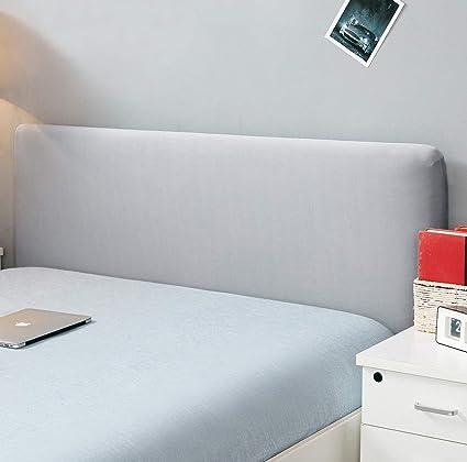 Funda para cabecero de cama de color sólido, elástica, a prueba de polvo, decoración para habitaciones, gris, King (70.5-78