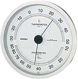 エンペックス気象計 温度湿度計 スーパーEX 高品質温湿度計 壁掛け用 日本製 シャインシルバー EX-2747
