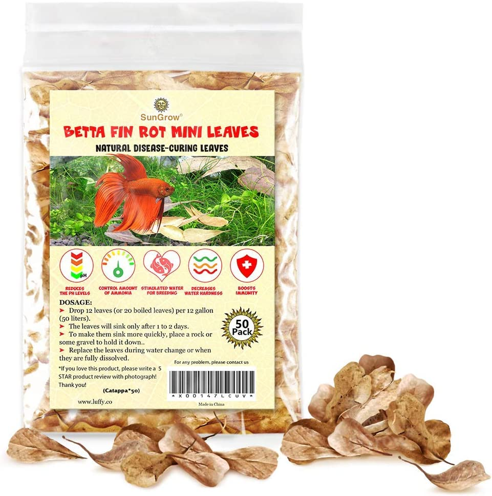 SunGrow Mini Catappa Indian Almond Leaves for Betta, 2 Inches, Promotes Breeding, Lowers Your Tank's pH, Decreases Stress in Fish, Shrimp, and Frogs, Improves Habitat, Unique Decoration