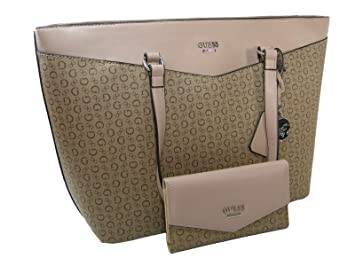 94f2bd9cb25 Image Unavailable. Image not available for. Color  New Guess G Logo XL  Purse Hand Bag Tote   Wallet Set 2 Piece Matching Mocha