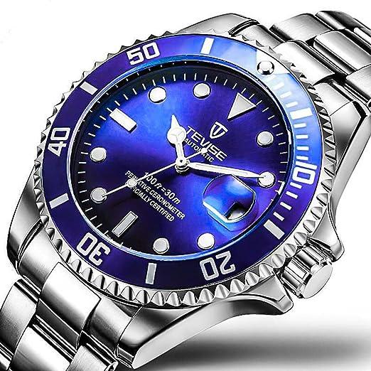 Amazon.com: Swiss Luminous Submariner Watch Mens Mechanical Watch Fashion Steel Waterproof Watch (Blue): Watches