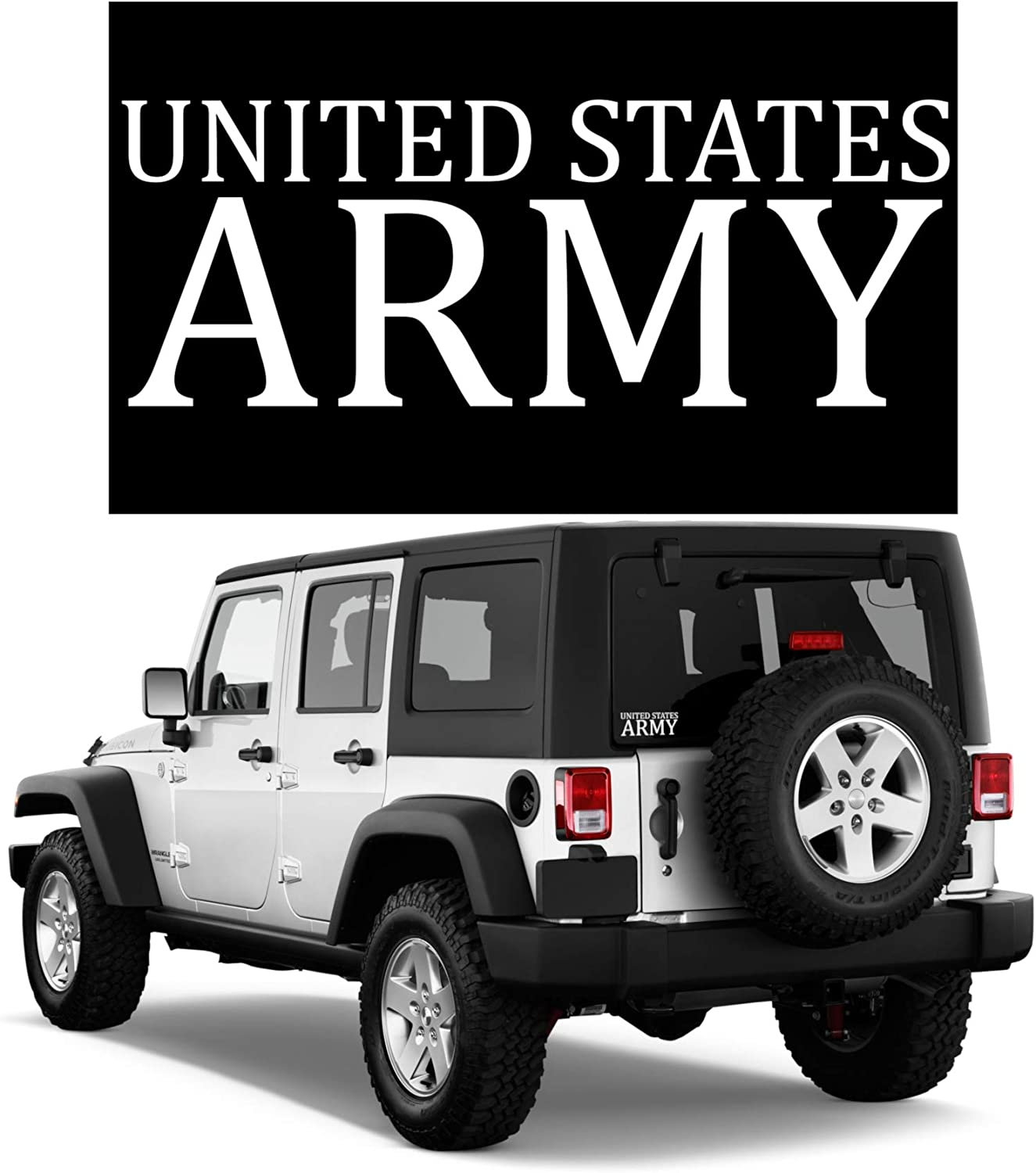 BriCals Vinyl Decals US Army Military Car & Truck Window Decal Sticker, White, Vinyl 5.45x2, 5 Year Outdoor, Made in USA, for Windows, Bumper, Bottle, Laptop, Tablet, Etc.
