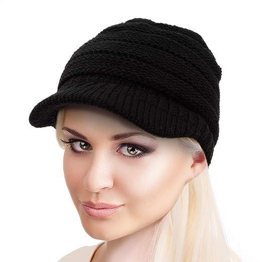 1984a895b BeCann Winter Hat Warm Knit Women's High Ponytail Hat Bun Messy Visor  Beanie Cap