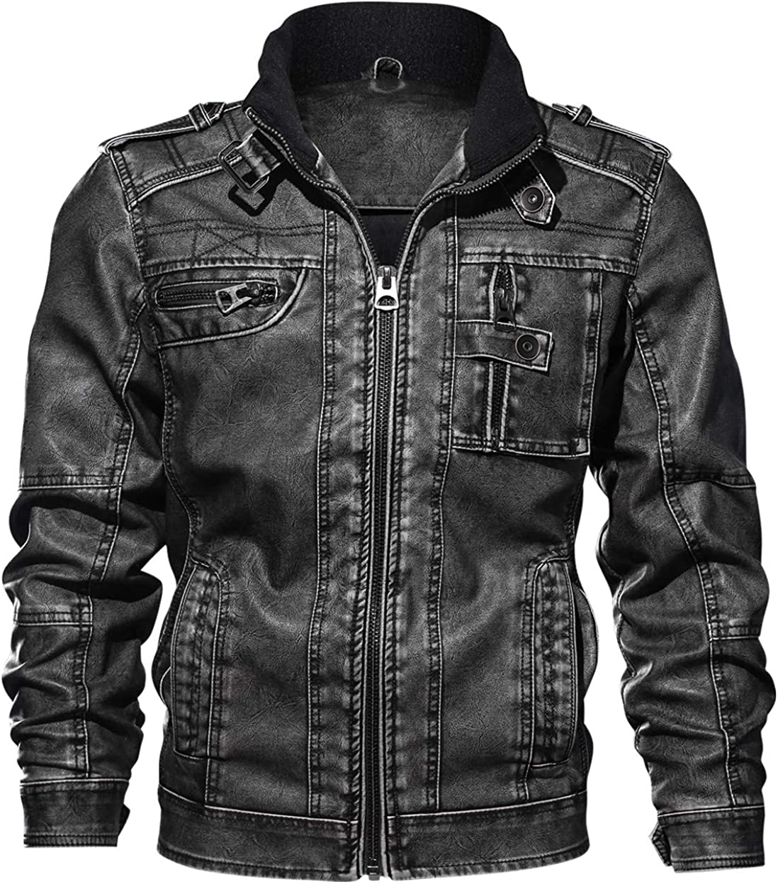 chouyatou Mens Casual Long Sleeve Zip-Up Distressed Faux Leather Moto Jacket