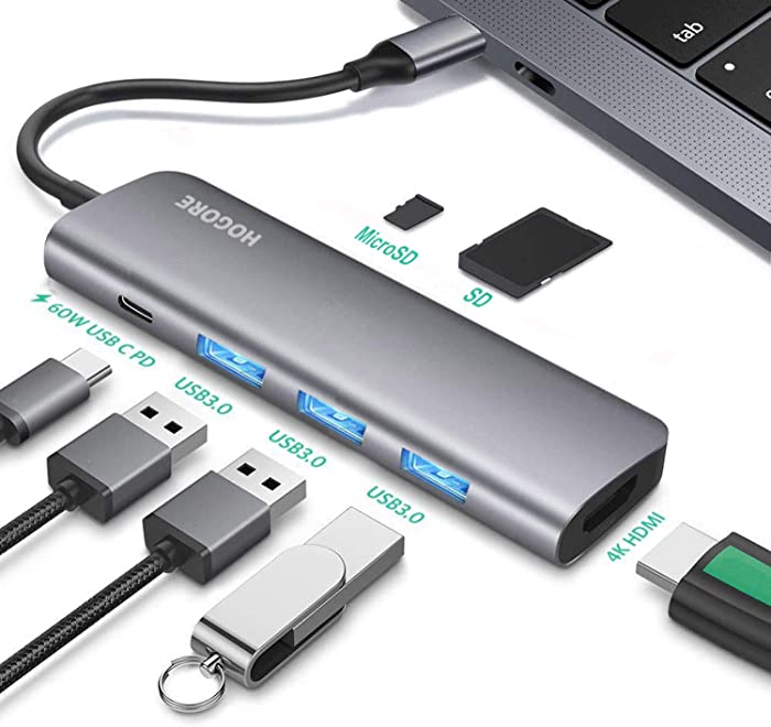 USB C Hub HDMI, HOGORE 7-in-1 USB Type C Multi-port Adapter Dongle with 4K HDMI, 60W PD Charging,3 USB 3.0 Ports,SD/Micro,Compatible with MacBook,HP Spectre,Dell XPS, Lenovo Yoga,ChromeBook,Surface Go