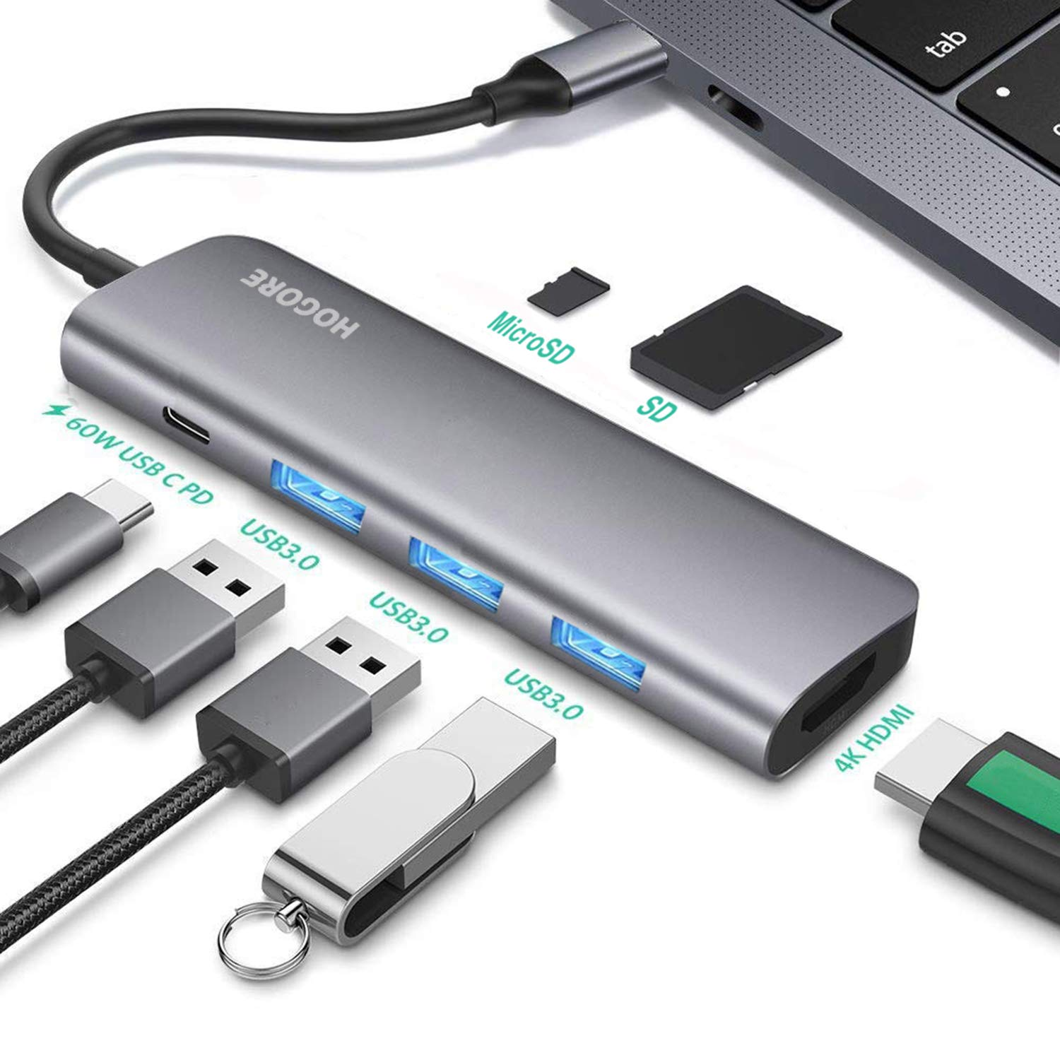 USB C Hub HDMI, HOGORE 7-in-1 USB Type C Multi-port Adapter Dongle with 4K HDMI, 60W PD Charging,3 USB 3.0 Ports,SD/Micro,Compatible with MacBook,HP Spectre,Dell XPS, Lenovo Yoga,ChromeBook,Surface Go by HOGORE