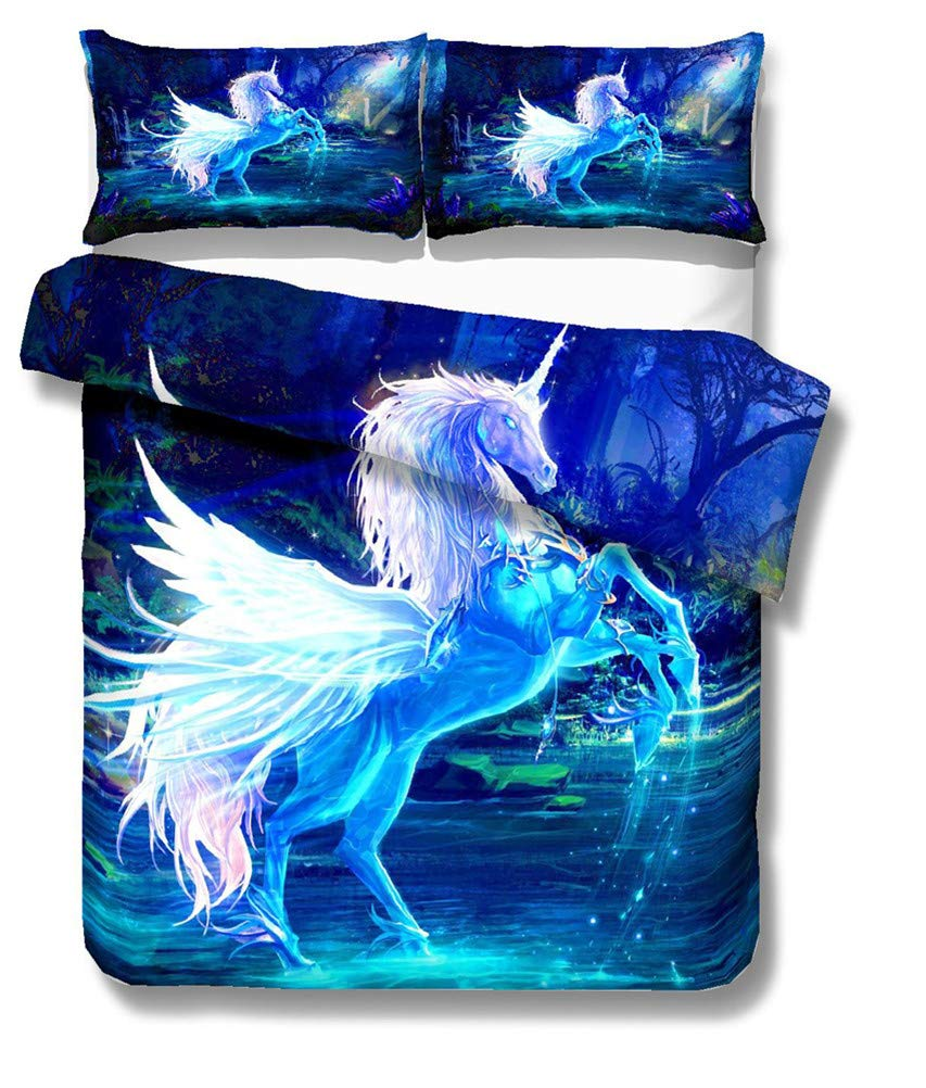 Duvet Cover and Pillowcase Dream Angel Wings Unicorn Duvet Cover Bedding Set A,Single-135x210cm Twin Full Duvet Cover 3 Piece Set Bedding Duvet Cover + 2 Pillowcases