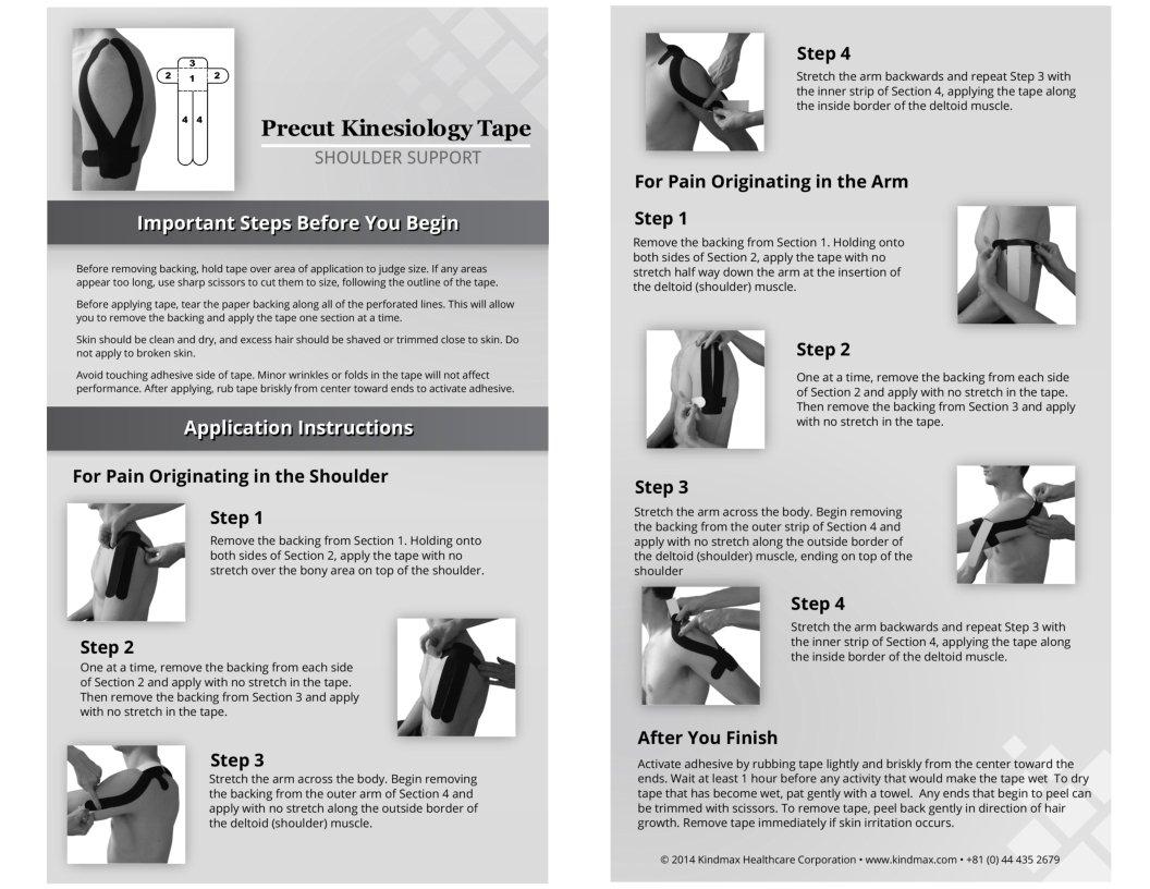 5 Pack - Kindmax Kinesiology Tape Shoulder Support (Beige) - K Tape for Shoulder Pain