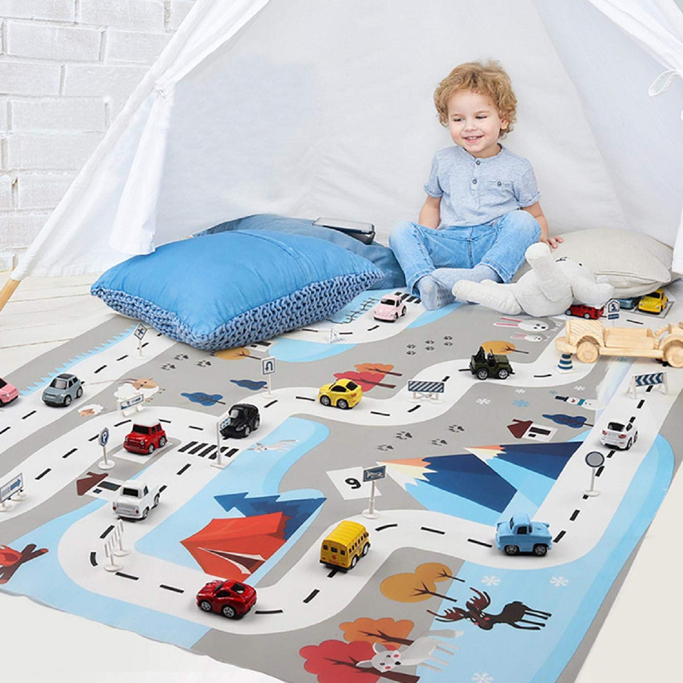 Putars Kids Play Mat City Road Buildings Parking Map Game Scene Map Educational Toys,Pattern Baby Crawling Mats Game Blanket Floor Kids Infant Child Activity Round Rug