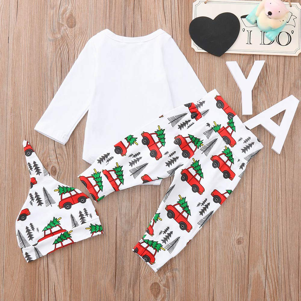 SHITOU Infant Baby Boys Girls Cartoon Letter Print Christmas Romper Pants Outfits