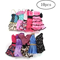 10 Pieces Dresses for Barbie Doll Fashion Party Dresses Clothes Gown for Barbie Dolls Girls Random Color Very Affordable of Fashion Dolls and Accessories