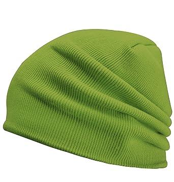 SUNNYTREE Long Cuff Knitted Beanie Cap Winter Hats for Men Ski Hat Caps  Akika Green 5cb6379c2c7