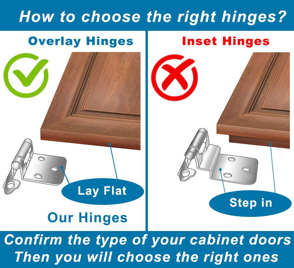 Variable for Kitchen Cabinets Self Closing, Silver Moon Hardware Overlay Cabinet Hinges for Bathroom Cabinets 25 Pairs Antique Brass