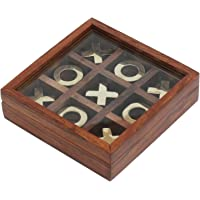 PEBBLE CRAFTS Tick Tack Toe - Tic tac Toe - Wooden Family Board Game Metal Naughts & Crosses Storage Box with Glass Lid -Unique Table/Desk/Floor/Indoor Game