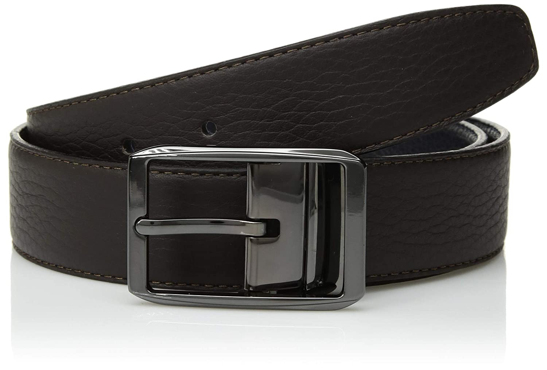 Bugatchi Mens Reversible Solid Full Grain Leather Belt