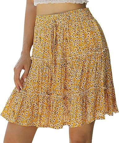 FeMereina Falda Minifalda con Estampado Floral Bohemio para Mujer ...
