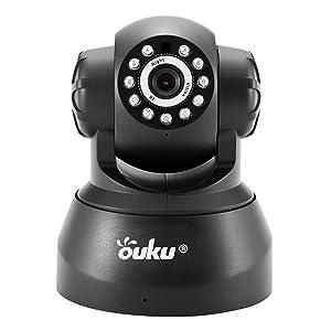 Black OUKU 720P Megapixel H.264 Wireless PT ONVIF CCTV Security IP Camera Two-Way Audio and Night Vision