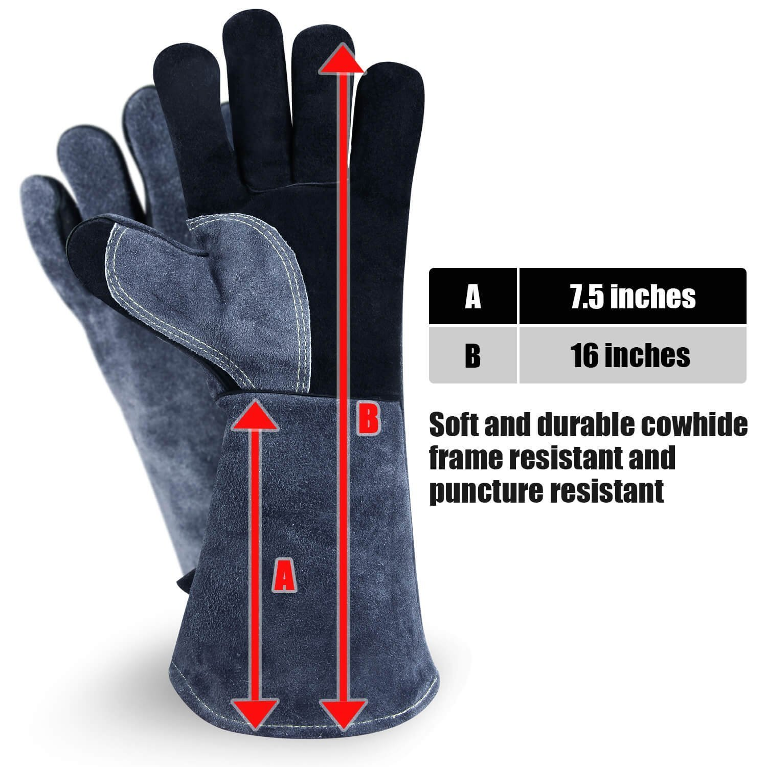 Chengyi Leather Welding BBQ 932°F Heat Resistant Gloves Lab, Safety and Work Gloves for Tig Welder/Grilling/Barbecue/Gardening by ChengYi (Image #3)