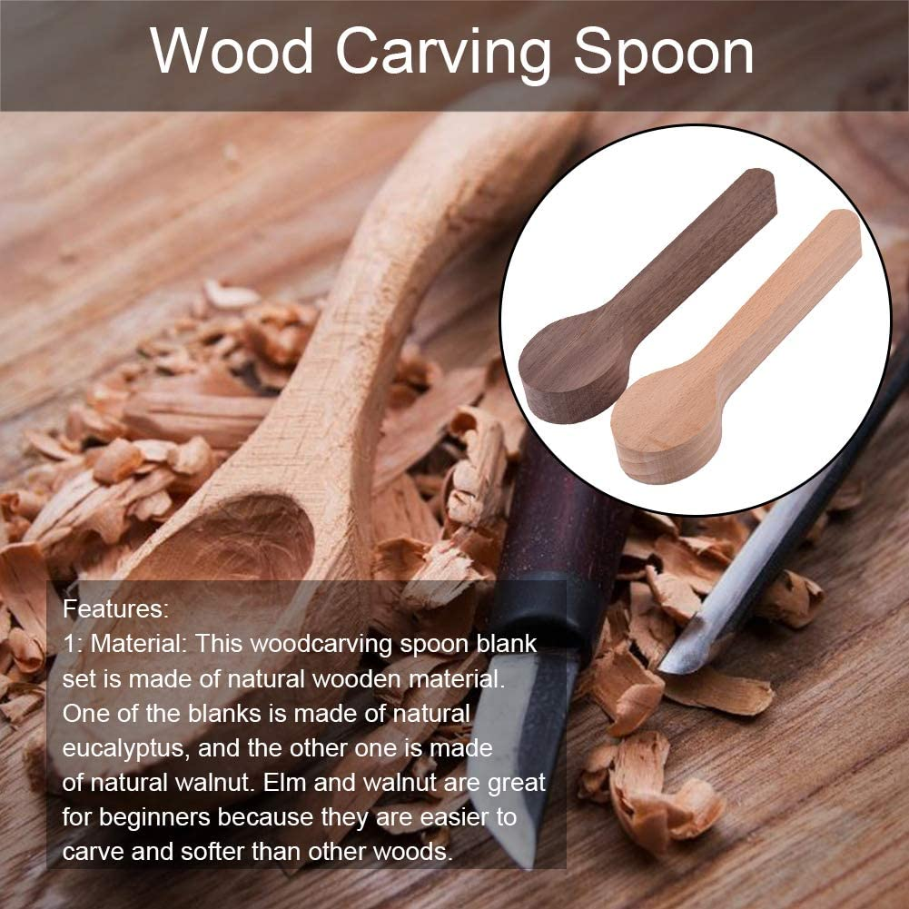 Walnut Wooden RoJuicy Premium Wood Carving Spoon Blank Basswood for Beginner Whittling Craft Wood Blanks for Carving Spoon Shape