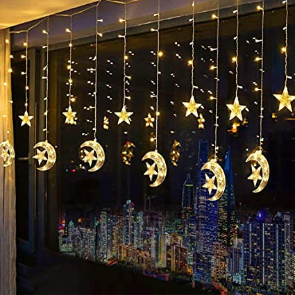 best loved a9ce5 0cabf Led Star Curtain Lights, Moon Star String Light 138 LEDs 250CM Length with  8 Modes Plug in Fairy Lights Christmas Window Curtains Light for Home ...