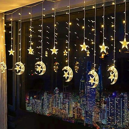 Amazon.com: Franja de LED Star luces de cortina, Cadena Luz ...
