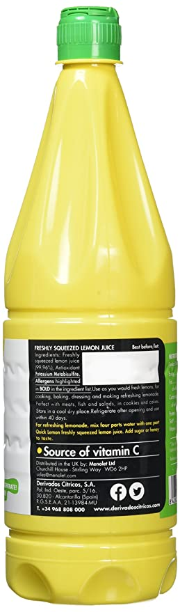 Quick Lemon Juice - Not from Concentrate 1000ml/1 Litre (Pack of 2)