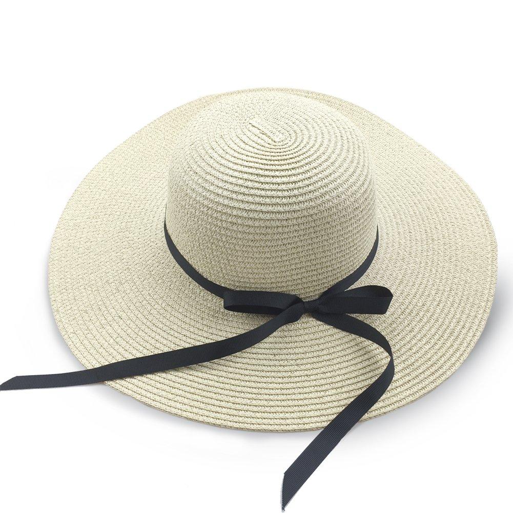 Cappello da sole da donna Floppy Foldable Bowknot Grande cappello a tesa  larga Cappello estivo da spiaggia Protezione UV UPF50  Amazon.it   Abbigliamento dcc81ab8ef6b