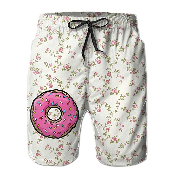 8f42f97d69 Johnny Valenzuela Men's Sweet Doughnut Quick Dry Printing Trunk With  Pockets For Sea Beach & Swimming Pool