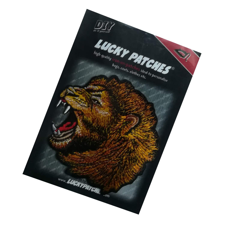 5.3 x 7.9 cm Applikationen Patches Löwe Tier braun Aufnäher // Bügelbild