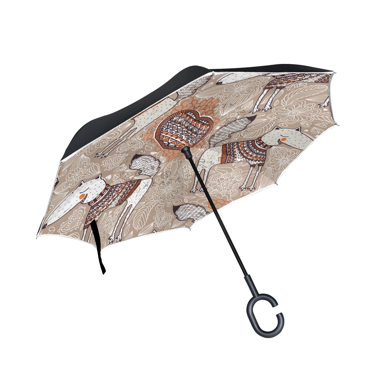 OKONE Envers inversé Ouverture Automatique Parapluie Compact léger Droites parapluies avec Art Fox Motif Floral pour Auto et à l'extérieur