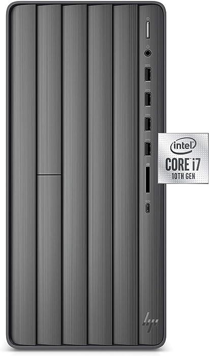 HP Envy Desktop, 10th Generation Intel Core i7-10700, 16GB RAM, 1 TB Hard Drive & 512 GB SSD, Windows 10 Home (TE01-1020, Black)